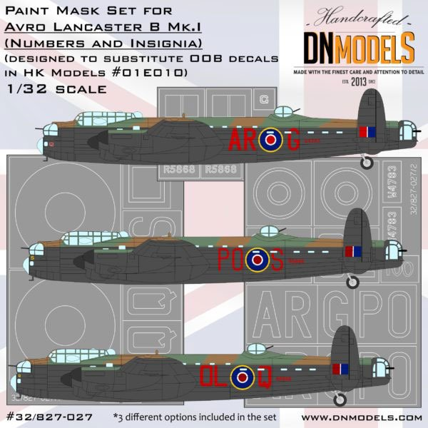 DN Models Lancaster Paint Mask set (Numbers and Insignia
